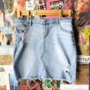 Celebrity Pink Distress Denim Skirt